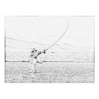 Fliegenfischer Postkarte