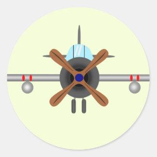 Flieger-Flugzeug Runder Aufkleber