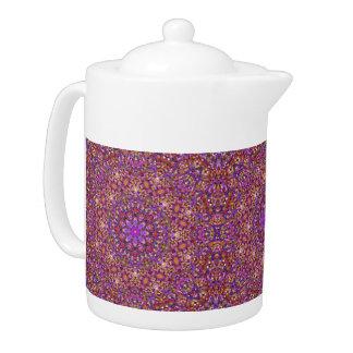 Fliesen-Art-Kaleidoskop-   Muster-Teekannen