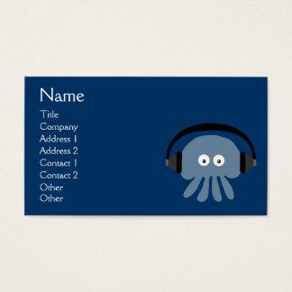 Flippige blaue Quallen DJ mit den Kopfhörern Visitenkarten