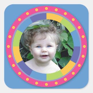 Flippiger Kreisrahmen - Disco! auf Blau Quadrataufkleber