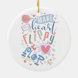Flippy Reinfall-Herz ID311 Rundes Keramik Ornament