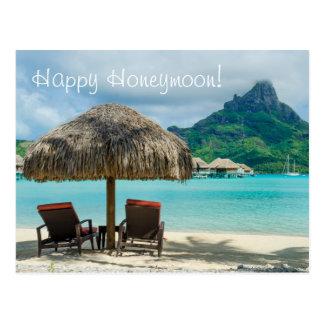 Flitterwochenwunschkarte mit Strand und zwei Postkarte