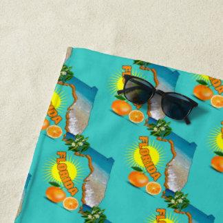 Florida-Karten-sonniger Orangen-Sommer Strandtuch