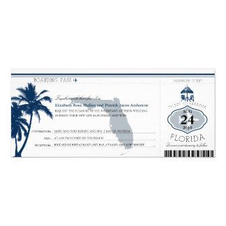 Florida-Palme-Boarding-Durchlauf-Hochzeit 10,2 X 23,5 Cm Einladungskarte