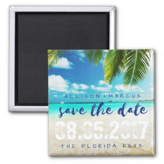 Florida-Schlüssel-Strand-Hochzeit retten die Daten Quadratischer Magnet