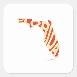 Florida-Staats-Namen-Wort-Kunst-Gelb Quadratischer Aufkleber