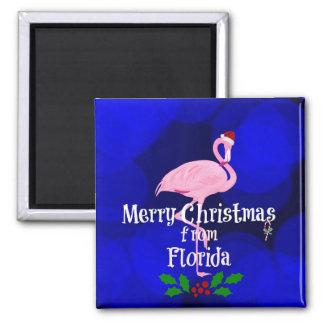 Florida-Weihnachtsgrüße von Sankt-Flamingo Quadratischer Magnet
