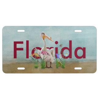 Florida, weißer Pelikan, Blumen, kundengebundener US Nummernschild
