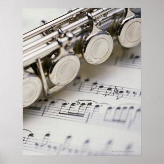 Flöte auf Noten Poster