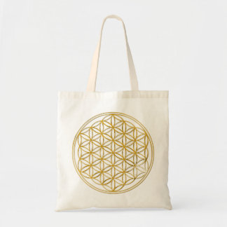 Flower Of Life | gold big Budget Stoffbeutel