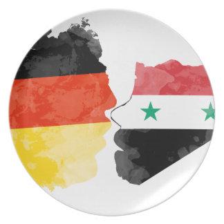 Flüchtlinge Willkommen, Syrien Deutschland Flache Teller