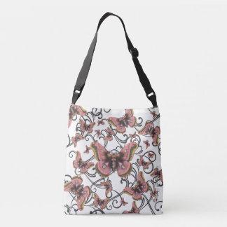 Flug der rosa Schmetterling Crossbody Tasche