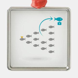Flug von fishes4 silbernes ornament