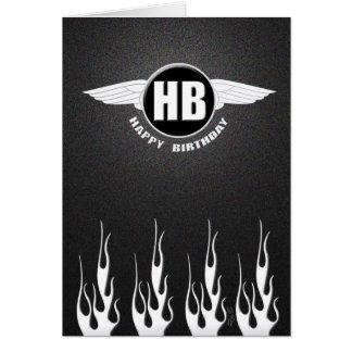 Flügel u. Flammen: Radfahrer-Geburtstag Karte