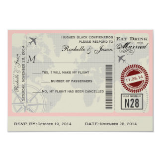 Fluglinien-Karten-Hochzeit UAWG 8,9 X 12,7 Cm Einladungskarte
