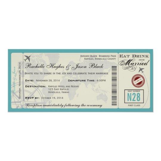 Flugticket-Hochzeits-Einladung FREIGESETZT Karte