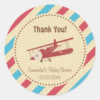 Flugzeug-Babyparty danken Ihnen Aufkleber