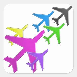 FLUGZEUG cadeaux gießen les enfants flotte d'avion Quadratsticker