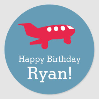 Flugzeug-Flugzeug-Geburtstags-Party-Aufkleber Runder Aufkleber