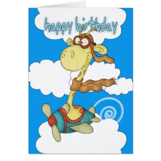 Flugzeug-/Flugzeug-Giraffen-Geburtstags-Karte - Grußkarte