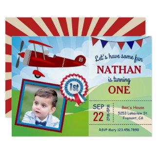 Flugzeug scherzt Foto-1. Geburtstags-Party 12,7 X 17,8 Cm Einladungskarte
