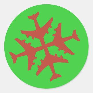 Flugzeug-Schneeflocke Runder Aufkleber