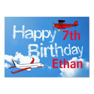 Flugzeuge im Himmel - Jungen-Geburtstags-Einladung 12,7 X 17,8 Cm Einladungskarte