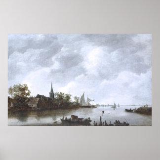 Fluss-Ansicht mit einer Dorf-Kirche bis Januar van Poster