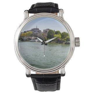 Fluss die Seine Ile De La Cite in Paris-Fotografie Handuhr