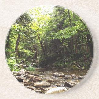 Fluss im Holz Sandstein Untersetzer