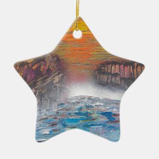 Fluss über den Fällen Keramik Ornament