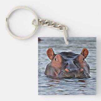 Flusspferd Einseitiger Quadratischer Acryl Schlüsselanhänger
