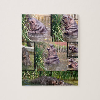 Flusspferd-Foto-Collage, Puzzle