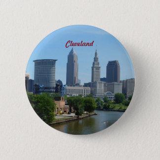Flussufer-Knopf Clevelands OH- Runder Button 5,7 Cm