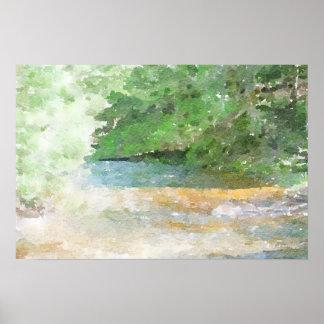 Flussund Waldabstrakte Watercolor-Malerei Poster
