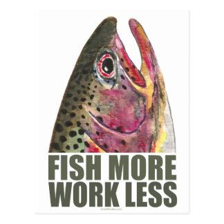 Forelle, die mehr fischt postkarte