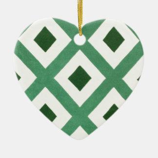 Forest Green-Dreieck-Muster Keramik Ornament