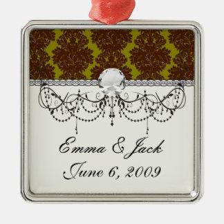 formaler Damast des olivgrünen Brauns Silbernes Ornament
