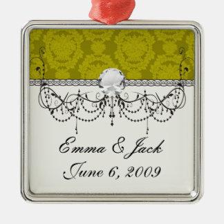 formales Damastmuster der olivgrünen Grüntöne Silbernes Ornament