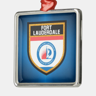 Fort Lauderdale-Flagge Silbernes Ornament