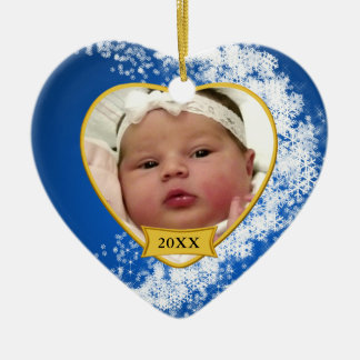 Foto-Andenken des Babys erstes Weihnachts Keramik Ornament