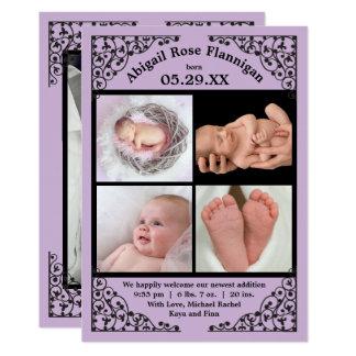Foto-Collagen-lila Spitze - Geburts-Mitteilung 12,7 X 17,8 Cm Einladungskarte