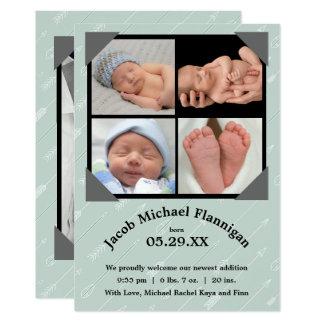 Foto-Collagen-Pfeile - Geburts-Mitteilung 12,7 X 17,8 Cm Einladungskarte