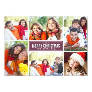 Foto-Collagen-Weihnachtsgruß-Karte | Burgunder 12,7 X 17,8 Cm Einladungskarte