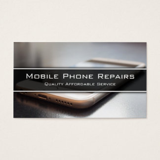 Foto des intelligenten Telefons auf Schreibtisch - Visitenkarten