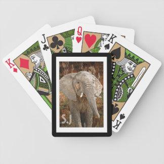 Foto des wilden Tieres des Elefantmonogramms Pokerkarten