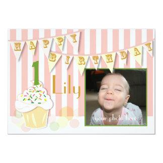 Foto-erste Geburtstags-Einladung - Mädchen 12,7 X 17,8 Cm Einladungskarte