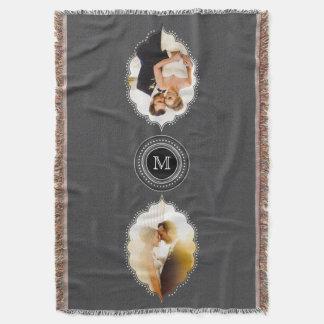 Foto-Geschenk-Decken-Monogramm Weds eben oder Uni Decke