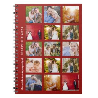 Foto-gewundenes Notizbuch-Zeitschriften-Rot der Spiralblock